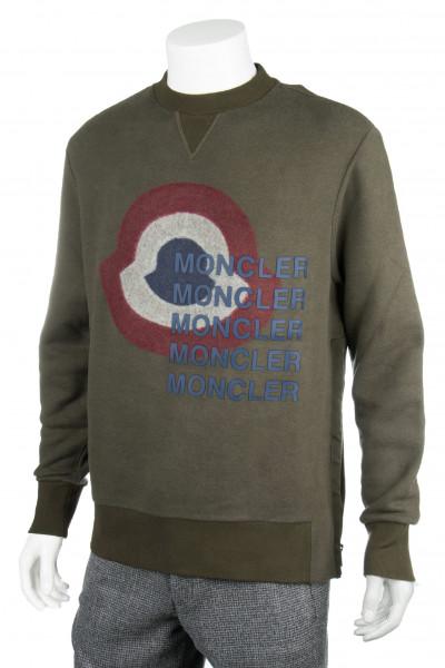 MONCLER Sweater Logo Print Zip Detail