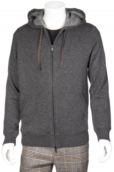 LORO PIANA Cashmere Jersey Hooded Bomber Snuggly