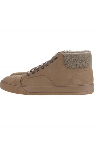 LANVIN Sneaker Leather And Shearling Mid Top