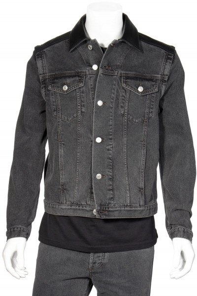 GIVENCHY 2way Logo Leather-Denim Jacket