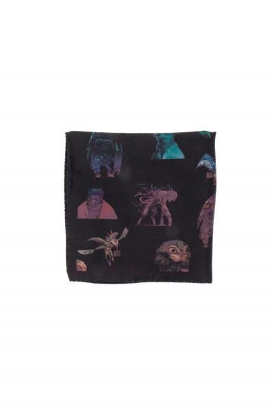 PAUL SMITH for MIB Alien Print Silk Pocket Square