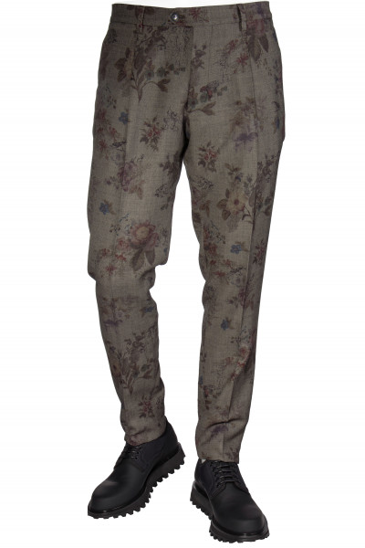 ETRO Wool Mix Pants Floral Pattern
