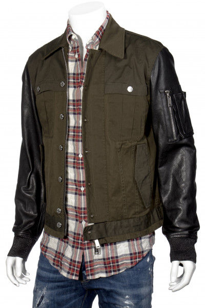 DSQUARED2 Jacket Contrasted Leather Sleeve