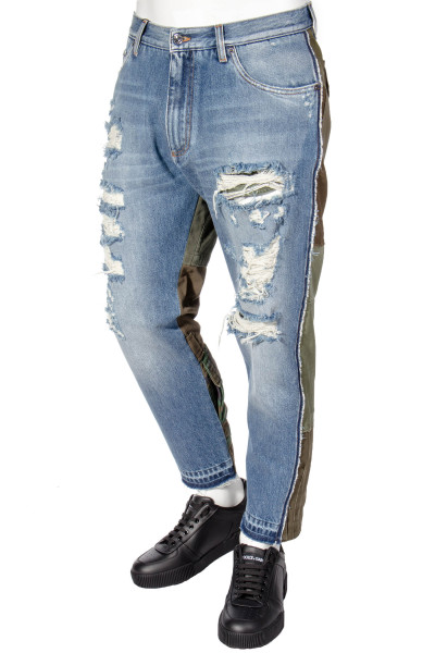 DOLCE & GABBANA Distressed Panel Jeans Cropped