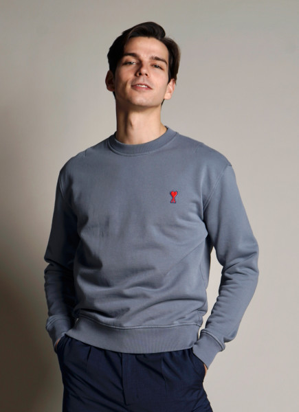 AMI Logo Sweatshirt Steel Blue