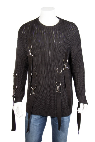BLOOD BROTHER Knit Sweater Suede Straps