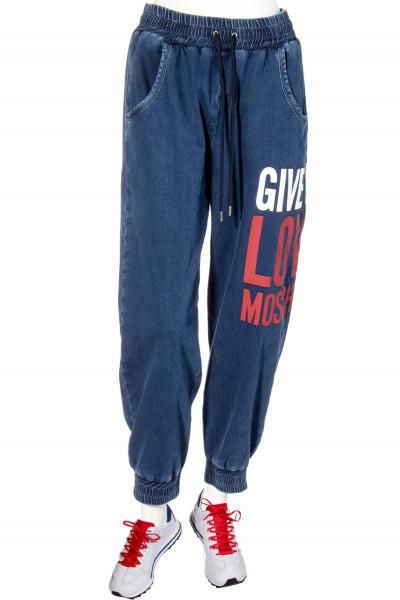 LOVE MOSCHINO Denim Sweatpants Give Me LM Print