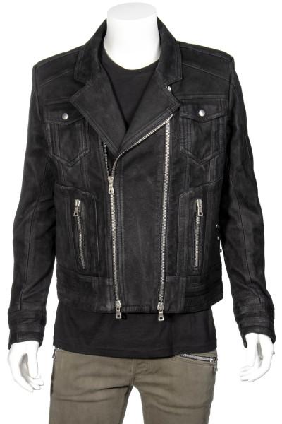 BALMAIN Lace-Up Suede Biker Jacket