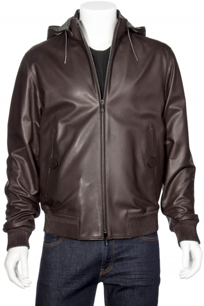 ERMENEGILDO ZEGNA Reversible Hooded Leather Jacket