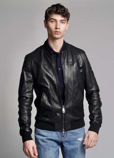 DOLCE & GABANNA Leather Bomber Jacket