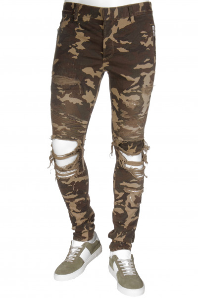 BALMAIN Camouflage Biker Jeans Distressed