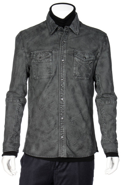 JOHN VARVATOS Slim Fit Leather Shirt
