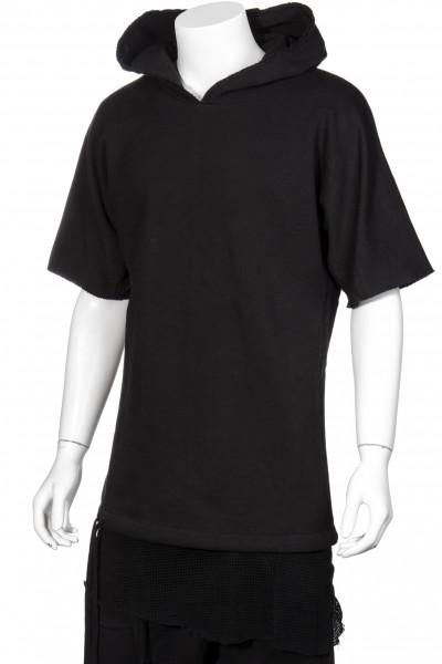 THOM KROM Black Hooded Double Layer Sweatshirt