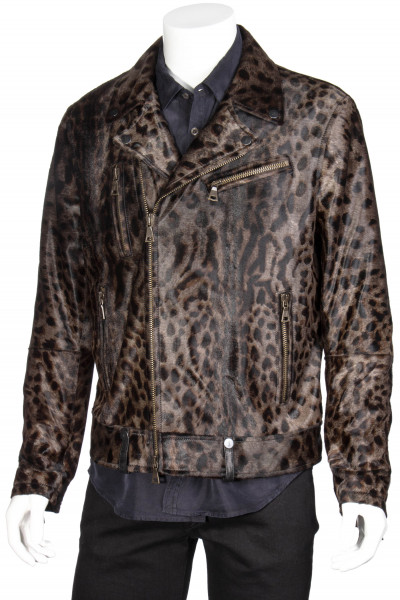 JOHN VARVATOS Limited Edition Leather Biker Jacket Animal Print