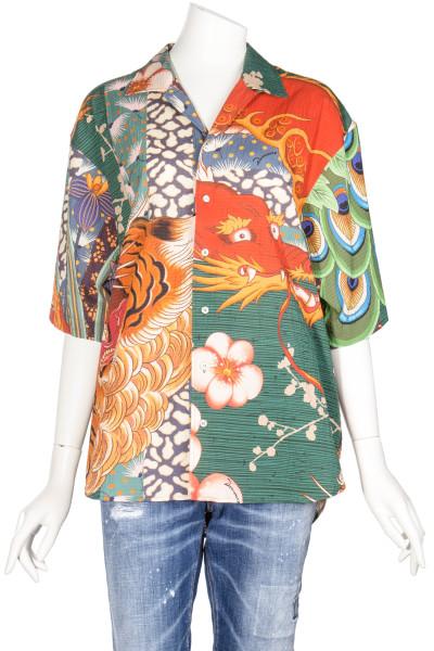 DSQUARED Seersucker Dress Asian Print