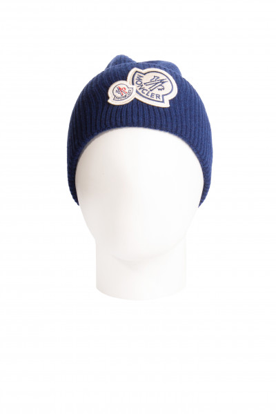 MONCLER Logo Patch Wool Blend Beanie