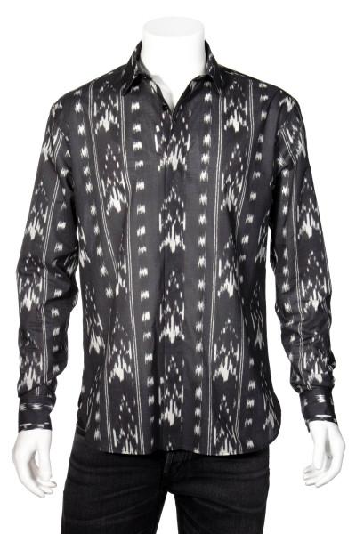 SAINT LAURENT Western Jacquard Pixel Print Shirt