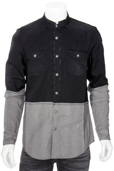 BALMAIN Denim-Check-Mix Shirt
