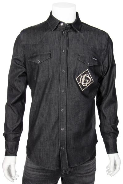 DOLCE & GABBANA Denim Shirt Logo Embroidery