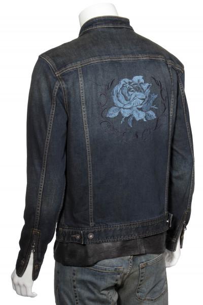 JOHN VARVATOS Denim Jacket Rose Embroidery