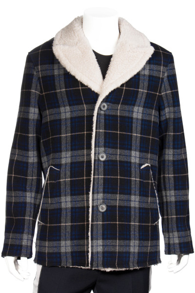 LANVIN Checked Sherling Wool Jacket