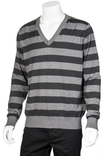 DOLCE & GABBANA Striped V-Neck Cotton Knit Sweater