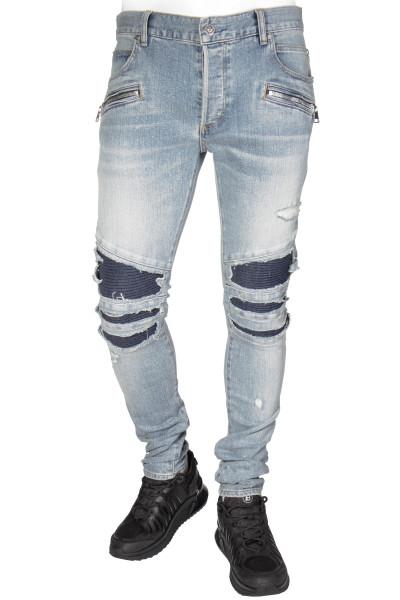 BALMAIN Distressed Biker Jeans Tapered