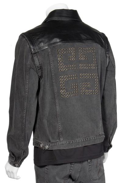 GIVENCHY 2way Logo Leather-Denim Jacket