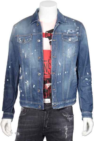 DSQUARED2 Distressed Denim Jacket Faded Patches