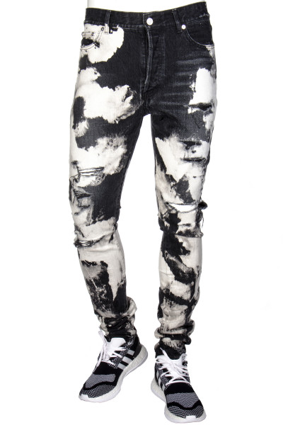SAINT LAURENT Jeans Distressed Acid Wash Skinny Fit High Waist