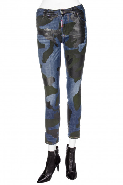 DSQUARED2 Runway Straight Cropped Jeans Camouflage