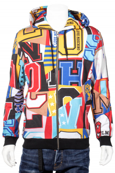 LOVE MOSCHINO Zip-Hoodie Collage Print