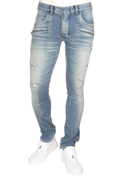 BALMAIN Slim Fit Destroyed Jeans