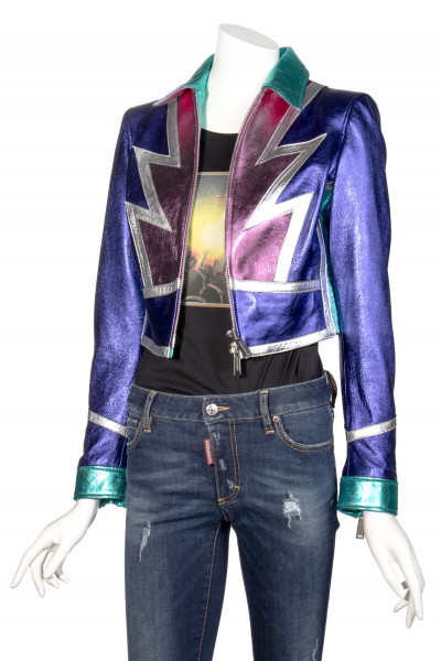 DSQUARED2 Multicolored Metallic Leather Jacket