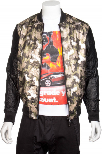 RH45 Leather Camouflage Bomber Jacket