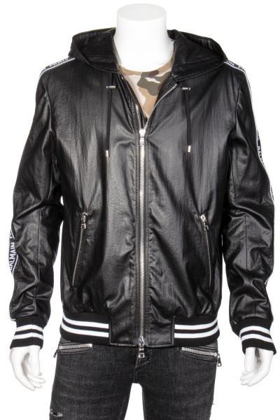 BALMAIN Hooded Faux Leather Jacket