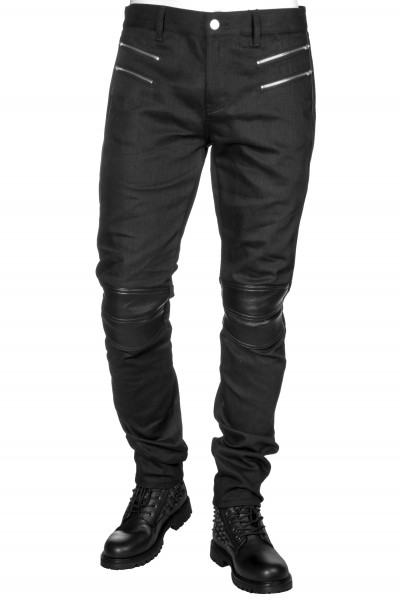 SAINT LAURENT Jeans Biker Leather Details Skinny Fit Low Waist