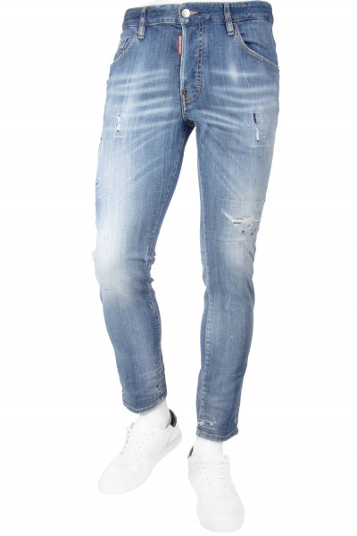 DSQUARED2 Distressed Jeans Skater Light Blue Wash