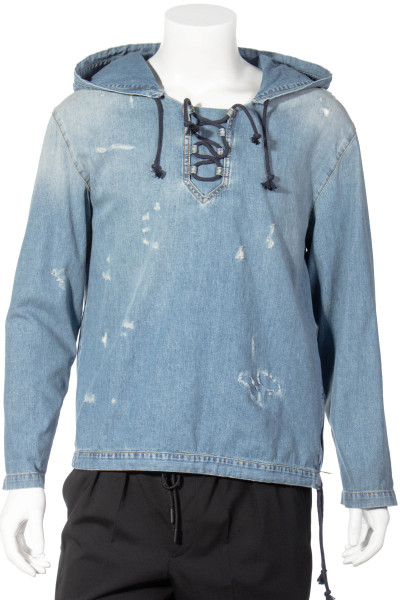 SAINT LAURENT Hooded Distressed Denim Overshirt