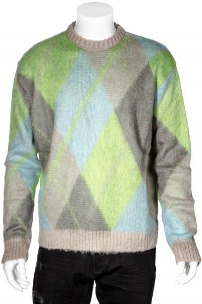 DANILO PAURA Harris Argyle Crewneck Mohair Sweater