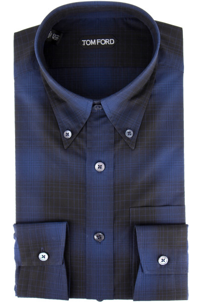 TOM FORD Checked Shirt Button-Down Collar
